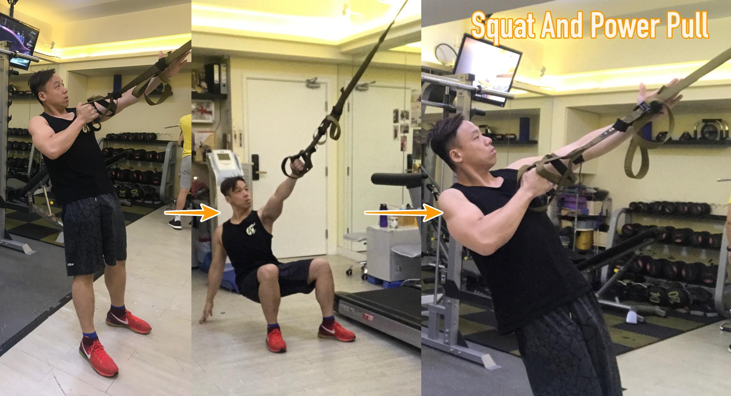 TRX訓練動作 Squat and Power Pull